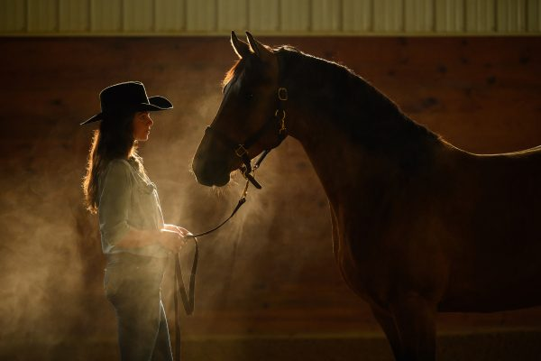 woman with bay horse in dark smokey arena